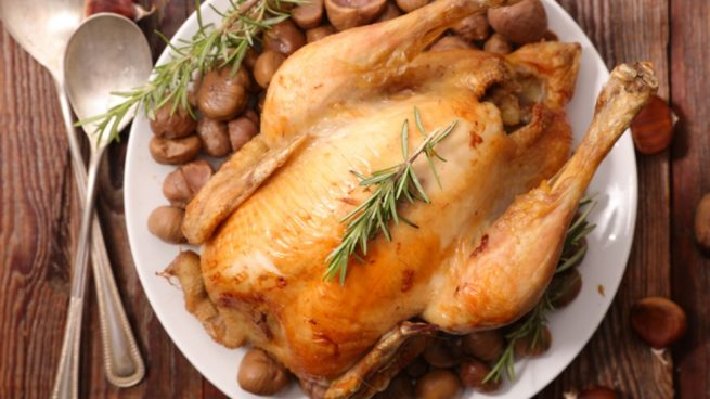pollo horno corral plato mesa