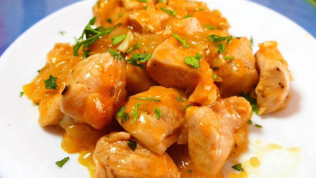 pollo naranja plato mesa