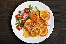 pollo naranja comida mesa